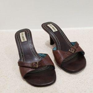 "Steve Madden women's brown leather 3"" heel mules"
